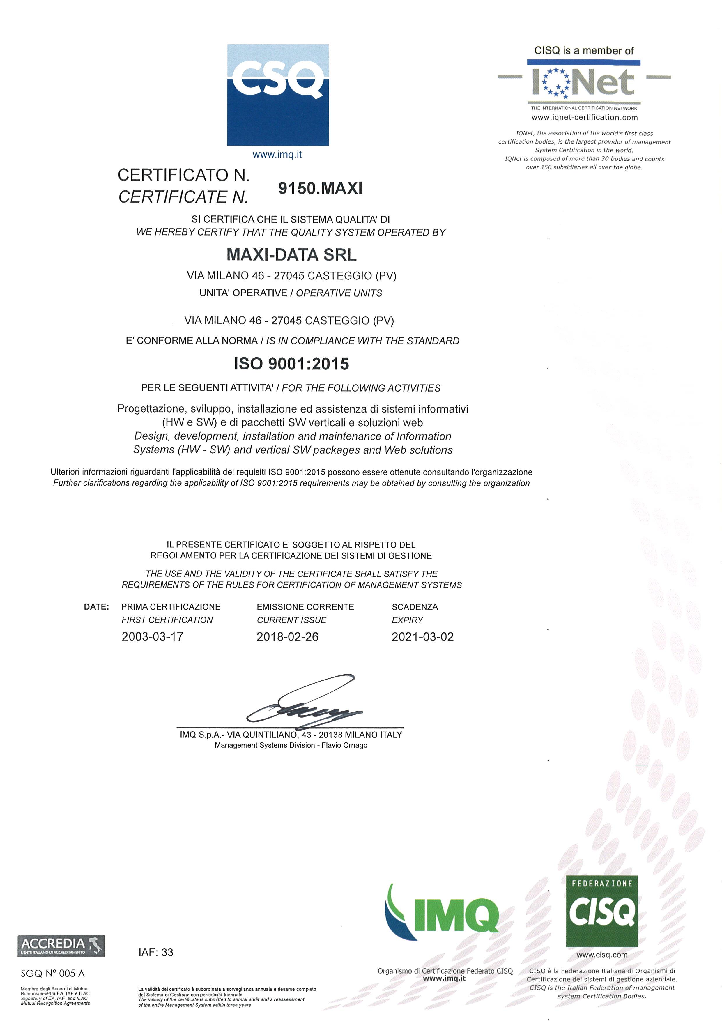 2018 Certificazione ISO 2015
